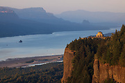 Vista House and Crown Point from Chanticleer Point on an early September day at sunset.