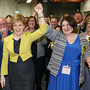 SNP Nicola Sturgeon at local council elections count at the Emirates Arena , Glasgow. With Susan Aitken (2R), the leader of the SNP group on Glasgow City Council, a councillor at Glasgow City Council representing Ward 7 (Langside). <br /> May 5th Glasgow, Scotland.