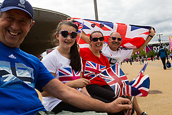 London, 2017-August-04. The Wilton family and friends Jeremy Rodgers show their support for Team GN ahead of the first session of the IAAF World Championships London 2017. Paul Davey.