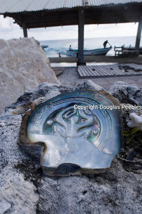 Carved shell, Black Pearl Farm, Tiputa, Rangiroa, Tuamotu Islands, French Polynesia<br />