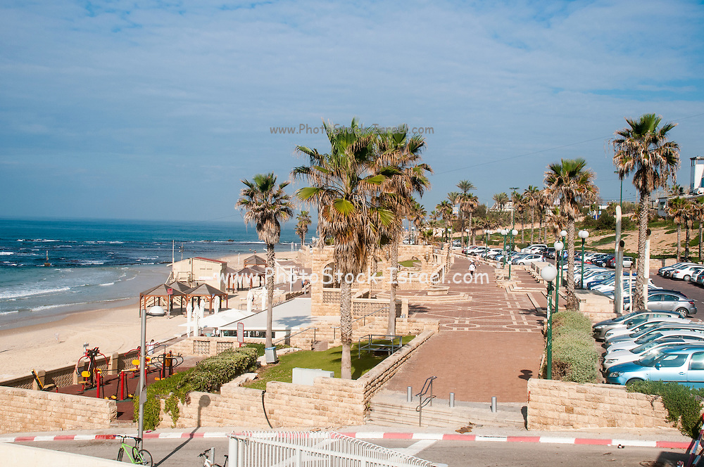 Israel, Jaffa beach front view from the south