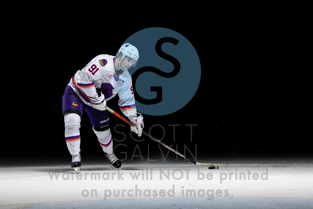 Youngstown Phantoms player photo shoot on April 14, 2021. <br /> <br /> Grant Hindman, defenseman, 91