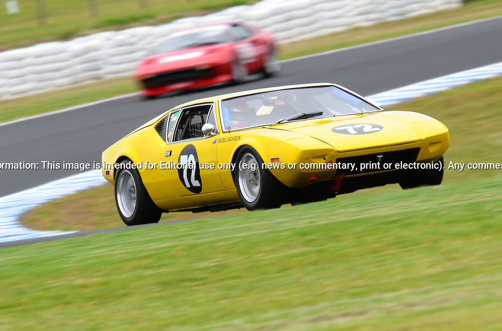 Ross Jackson - De Tomaso Pantera.Historic Motorsport Racing - Phillip Island Classic.18th March 2011.Phillip Island Racetrack, Phillip Island, Victoria.(C) Joel Strickland Photographics.Use information: This image is intended for Editorial use only (e.g. news or commentary, print or electronic). Any commercial or promotional use requires additional clearance.