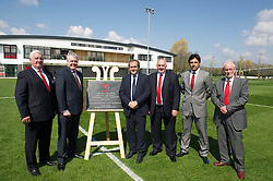 NEWPORT, WALES - Saturday, April 20, 2013: Former FAW President Phil Pritchard, First Minister Carwyn Jones, UEFA President Michel Platini, FAW President Trevor Lloyd-Hughes, Wales National team manager Chris Coleman and Bob Bright leader of Newport Council at the opening of the FAW National Development Centre in Newport. (Pic by David Rawcliffe/Propaganda)