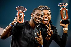 August 30, 2018 - Zurich, SWITZERLAND - 180830 Kyron McMaster of the British Virgin Islands and Caterine IbargŸen Mena of Colombia with the Diamond League Champions trophies after winning the men's 400 meter hurdles and the women's triple jump during Weltklasse ZŸrich on August 30, 2018 in Zurich..Photo: Vegard Wivestad GrÂ¿tt / BILDBYRN / kod VG / 170212 (Credit Image: © Vegard Wivestad Gr¯Tt/Bildbyran via ZUMA Press)