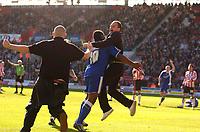 Photo: Alan Crowhurst.<br />Southampton v Cardiff City. Coca Cola Championship. 01/04/2006. Cardiff fans celebrate with Cameron Jerome.