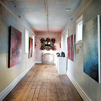 Peeling paint and scuffed floorboards add an extra layer of texture to the halls of Daylesford Art Gallery, Victoria, Australia.