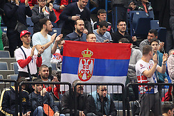 Supporters of Serbia  during futsal match between National teams of Serbia and Slovenia in Group Stage of UEFA Futsal EURO 2016, on February 2, 2016 in Kombank Beogradska arena, Belgrade, Serbia. Photo by Marko Metlas / Sportida