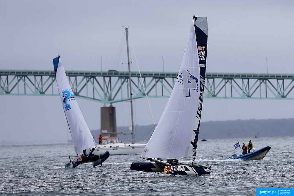 NEWPORT, RHODE ISLAND- OCTOBER 22: The Belgium team of Alec Bague and Wirtz Morgan, (left) and the Denmark team of Frederik Just Melson and Markus Oliver Nielsen in action during the Red Bull Foiling Generation World Final 2016 on October 22, 2016 in Narragansett Bay, Newport, Rhode Island. (Photo by Tim Clayton/Corbis via Getty Images)