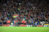 Cardiff City fans celebrate Steven Caulker's goal against Swansea City.<br /> Barclays Premier League match, Cardiff city v Swansea city at the Cardiff city stadium in Cardiff, South Wales on Sunday 3rd Nov 2013. pic by Phil Rees, Andrew Orchard sports photography,