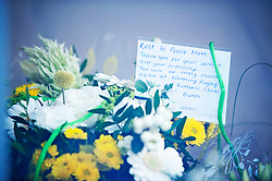 ©Licensed to London News Pictures 28/09/2020  <br /> Croydon, UK. Messages on flowers for Sgt Matt Ratana at Croydon Custody Centre. The murder investigation continues after the death of police sergeant Matt Ratana at the Croydon Custody Centre in South London last week. Photo credit:Grant Falvey/LNP