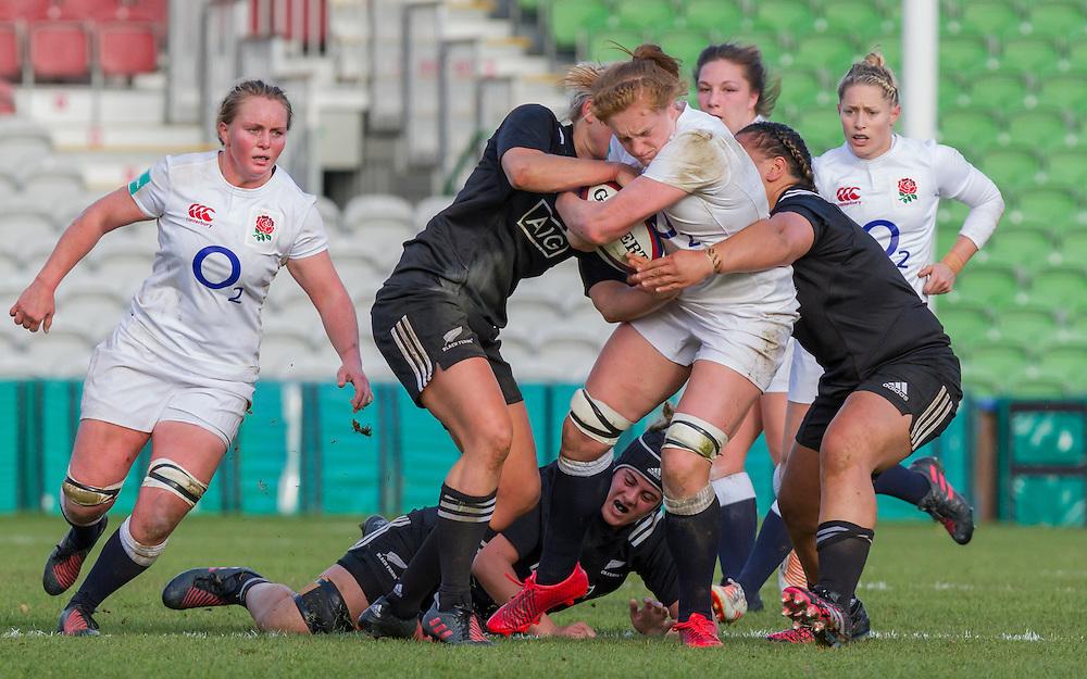 Harriet Millar-Mills in action, England Women v New Zealand Women in an Old Mutual Wealth Series, Autumn International match at Twickenham Stoop, Twickenham, England, on 19th November 2016. Full Time score 20-25