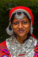 Indian woman wearing Kullu costume including Pattu Shawl, Hidimba Devi Temple, Manali, Himachal Pradesh, India.