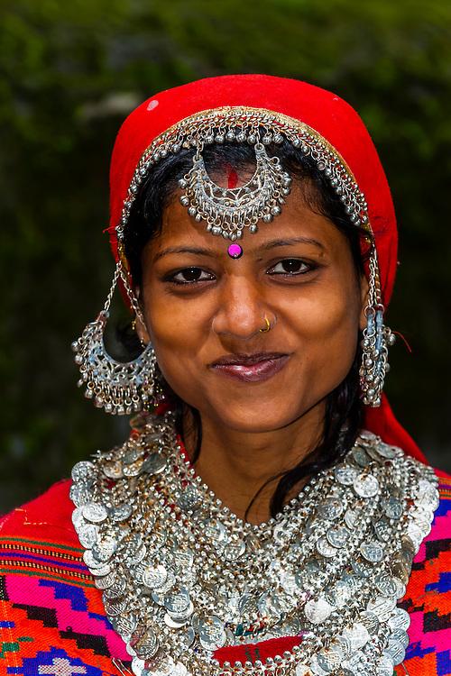 Indian woman wearing Kullu costume including Pattu Shawl, Hidimba Devi Temple, Manali, Himachal Pradesh, India.
