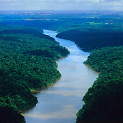 South America, Brazil. The Igwacu River meanders slowly along.