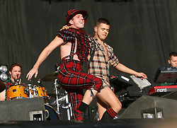 Jake Shears & Del Marquis of Scissor Sisters on the main stage, T in the Park, Sunday 8 July 2007..T in the Park festival took place on the 6th, 7th and 8 July 2007, at Balado, near Kinross in Perth and Kinross, Scotland. This was the first time the festival had been held over three days..Pic ©Michael Schofield. All Rights Reserved..