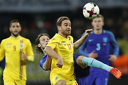 (l-r) Daley Blind of Holland, Eric Bicfalvi of Romania during the friendly match between Romania and The Netherlands on November 14, 2017 at Arena National in Bucharest, Romania