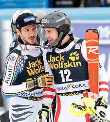 05.03.2017, Podkoren, Kranjska Gora, SLO, FIS Weltcup Ski Alpin, Kranjska Gora, Slalom, Herren, 2. Lauf, im Bild v.l. Michael Matt (AUT, 1. Platz), Felix Neureuther (GER, 3. Platz) // f.l. race winner Michael Matt of Austria third placed Felix Neureuther of Germany react after their 2nd run of men's Slalom of FIS ski alpine world cup at the Podkoren in Kranjska Gora, Slovenia on 2017/03/05. EXPA Pictures © 2017, PhotoCredit: EXPA/ Johann Groder