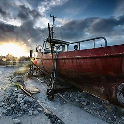 Vieux bateau de pêche sur les iles d'Aran, lanscape Aran Island, ireland
