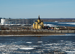 April 12, 2018 - Nizhny Novgorod, Russia - Spring ice seen drifting on the Oka river as the starting to melt after the winter. (Credit Image: © Aleksey Fokin/SOPA Images via ZUMA Wire)