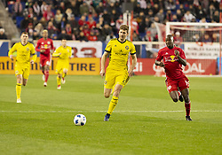 STYLEPREPENDBradley Wright_Phillips (99) of Red Bulls & Gaston Sauro (22) of Columbus Crew SC chase ball during 2nd leg MLS Cup Eastern Conference semifinal game at Red Bul Arena Red Bulls won 3 - 0 agregate 3 - 1 and progessed to final  (Credit Image: © Lev Radin/Pacific Press via ZUMA Wire)