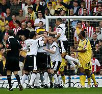 Photo: Steve Bond.<br />Derby County v Southampton. Coca Cola Championship. Play Off Semi Final, 2nd Leg. 15/05/2007. Darren Moore (buried) celebrates his goal