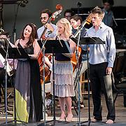 Soparno Yulia Van Doren, mezzo-soprano Jamie Van Eyck and bass-baritone Douglas Williams perform with the MMDG Music Ensemble at Libbey Bowl on June 9, 2013 in Ojai, California.