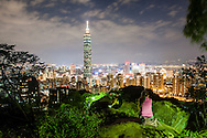 Twilight across the taipei skyline as seen from Elephant Mountain, Taipei, Taiwan.