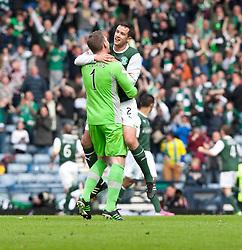 Hibernian's keeper Ben Williams and Hibernian's Tim Clancy after Leigh Griffiths scored their winning fourth goal..Hibernian 4 v 3 Falkirk, William Hill Scottish Cup Semi Final, Hampden Park..©Michael Schofield..
