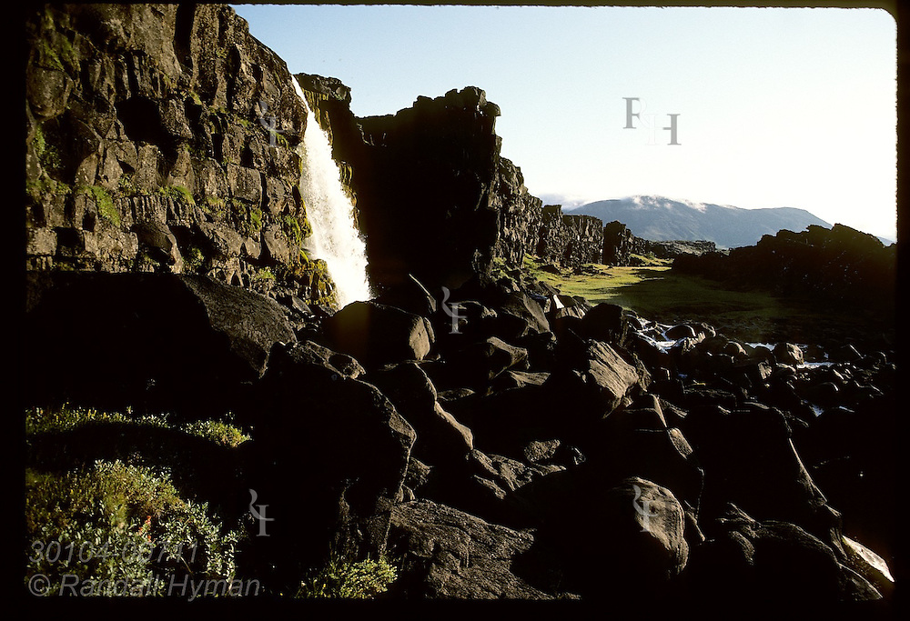Oxarafoss plummets into Almannagja canyon @ Thingvellir, first site of world's oldest parliamnt Iceland