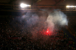 Liverpool fans light flares in the stands during the UEFA Champions League, Semi Final, Second Leg at the Stadio Olimpico, Rome.