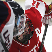 Dakota Woodworth, Boston University, prepares for a face-off during the UConn Vs Boston University, Women's Ice Hockey game at Mark Edward Freitas Ice Forum, Storrs, Connecticut, USA. 5th December 2015. Photo Tim Clayton