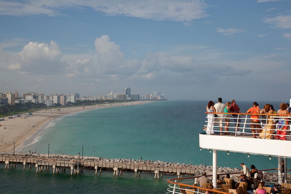 Carnival Cruise - Imagination. Leaving Miami Beach.