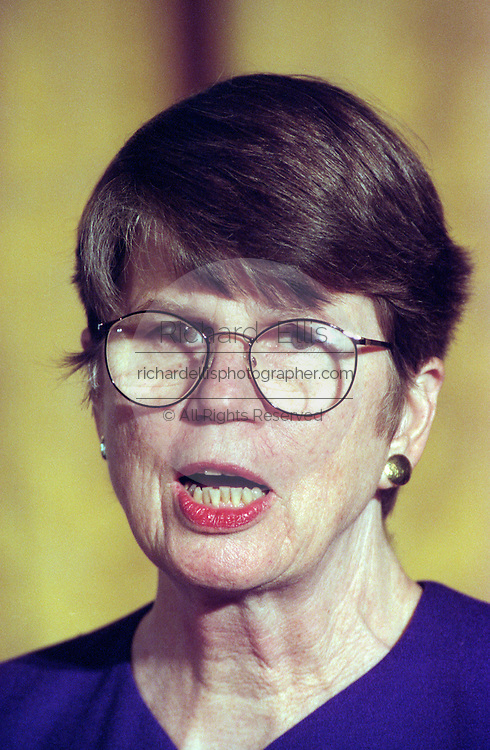 US Attorney General Janet Reno during a White House event on mentoring February 3, 1999 in Washington, DC.