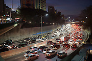 Cars at a standstill on a road in Sao Paulo, showing congestion.  Open ended Metro subway strike in Sao Paulo causes worst traffic of the year according to Mayor, just one week before the World Cup opening game and ceremony is held here at Corinthians stadium, Sao Paulo, Brazil.
