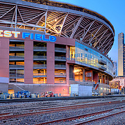 Qwest Field and Downtown Seattle at dusk