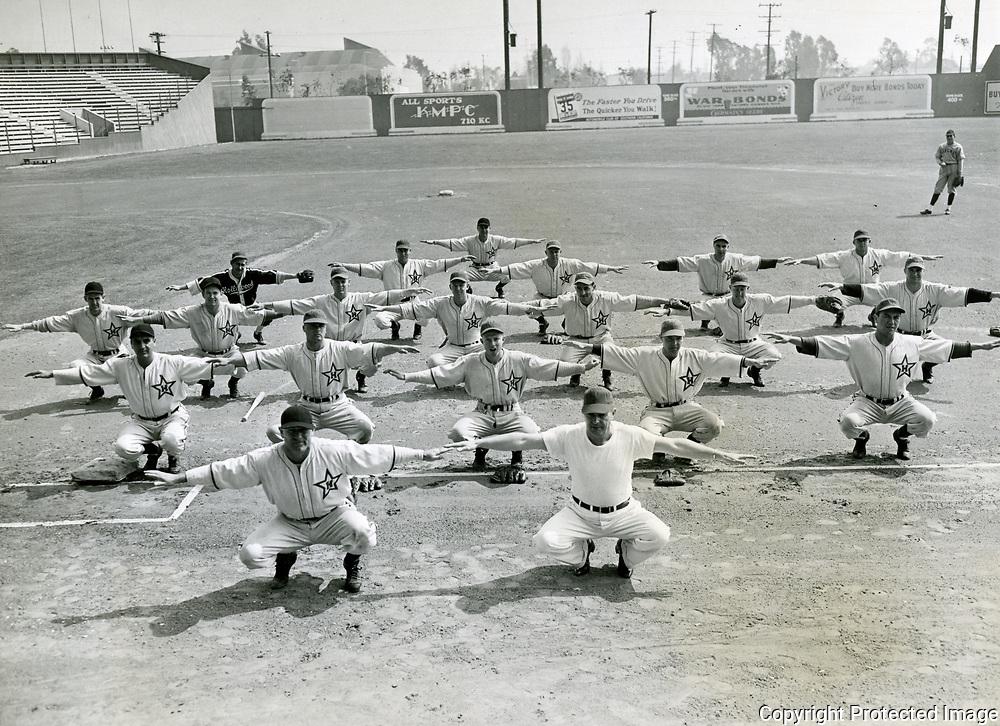 1944 Hollywood Stars Baseball Team warming up at Gilmore Field