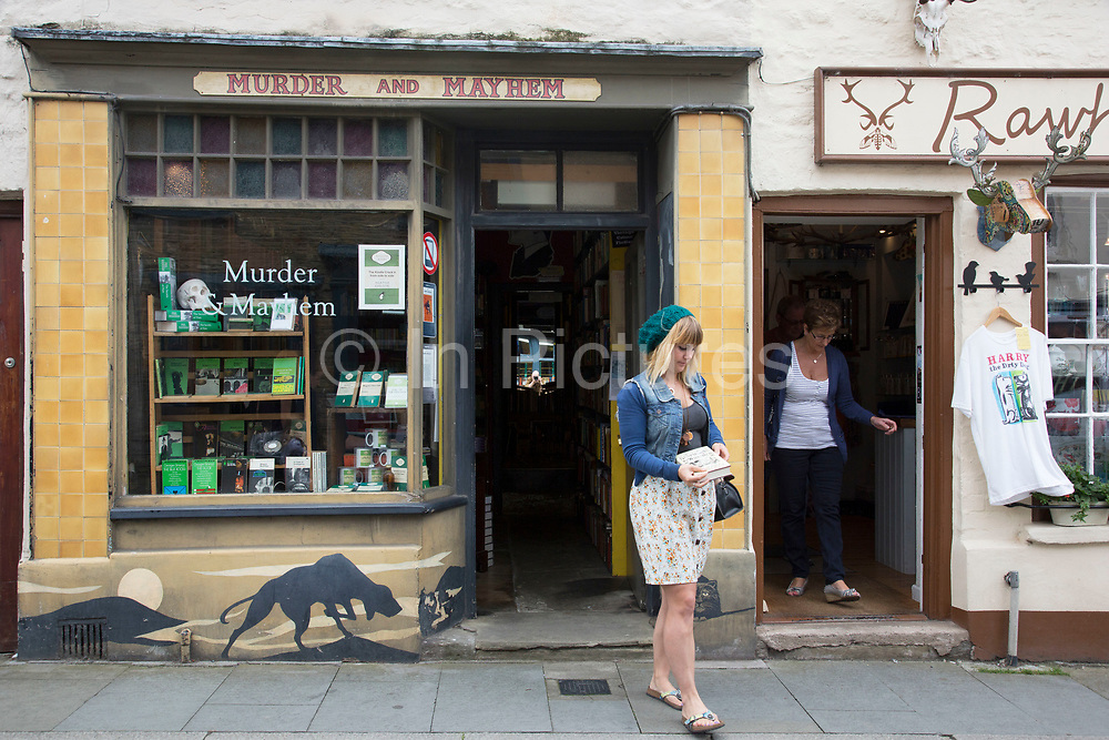 """Murder and Mayhem crime book shop in Hay-on-Wye or Y Gelli Gandryll in Welsh, known as """"the town of books"""", is a small town in Powys, Wales famous for it's many second hand and specialist bookshops, although the number has declined sharply in recent years, many becoming general antique shops and similar."""