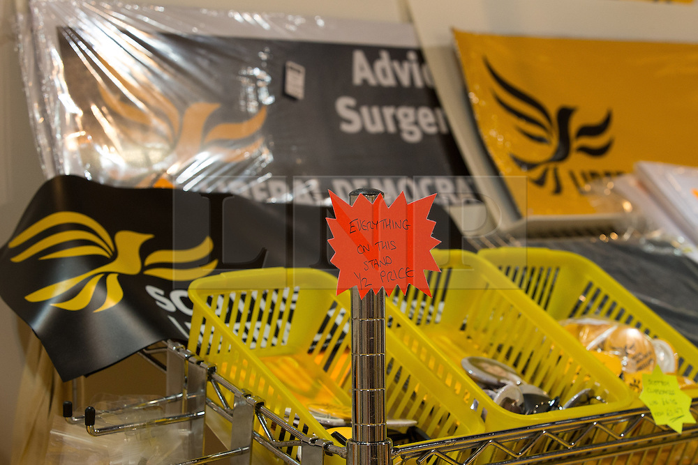 © Licensed to London News Pictures . 08/10/2014 . Glasgow , UK . Half price reductions on the Lib Dem merchandise stand in the exhibition centre at the conference . The Liberal Democrat Party Conference 2014 at the Scottish Exhibition and Conference Centre in Glasgow . Photo credit : Joel Goodman/LNP