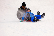 02 JANUARY 2021 - DES MOINES, IOWA: People slide down the hill below the Iowa Supreme Court on a plastic sled. The hill is one of the most popular spots in Des Moines for sledding and winter play. Hundreds of people took advantage the warmer weather and the week's record snow to spend time on the slopes around the Supreme Court and neighboring capitol. The high temperature Saturday was about 25F (-4C).     PHOTO BY JACK KURTZ