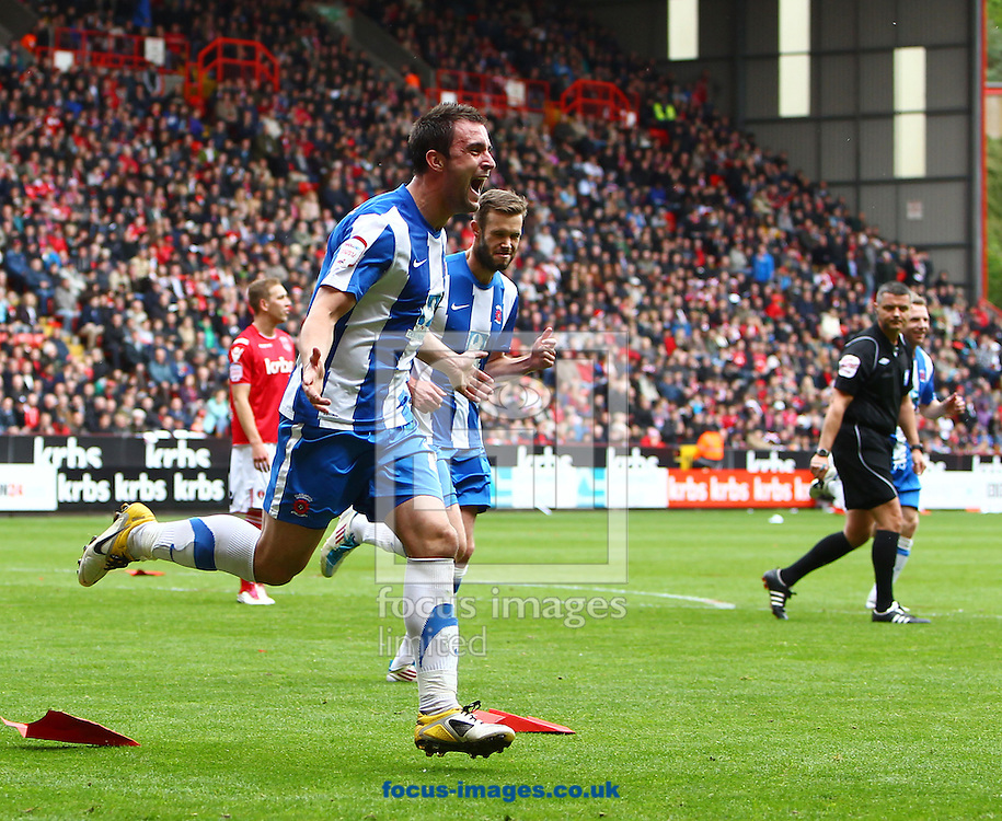 Picture by John Rainford/Focus Images Ltd. 07506 538356.05/05/12.Peter Hartley of Hartlepool United celebrates scoring during the Npower League 1 match at The Valley stadium, London.