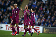 Raheem Sterling of Manchester city (7) celebrates after he scores his teams 2nd goal.  The Emirates FA Cup, 4th round match, Cardiff city v Manchester City at the Cardiff City Stadium in Cardiff, South Wales on Saturday 28th January 2018.<br /> pic by Andrew Orchard, Andrew Orchard sports photography.
