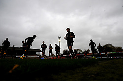 Mansfield Town players warm up prior to kick-off- Mandatory by-line: Nizaam Jones/JMP - 24/10/2020 - FOOTBALL - Jonny-Rocks Stadium - Cheltenham, England - Cheltenham Town v Mansfield Town - Sky Bet League Two