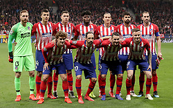 Back row, left to right, Atletico Madrid's Jan Oblak, Rodri, Jose Gimenez, Thomas Partey, Filipe Luis, Diego Costa and Diego Godin. Front row, left to right, Atletico Madrid's Antoine Griezmann, Juanfran, Koke and Saul line up before the game.