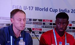 October 7, 2017 - Kolkata, West Bengal, India - England football team coach Steve Cooper (left) and player Marc Guehi (right) during a press conference ahead of FIFA U 17 World Cup on October 7, 2017 in Kolkata. (Credit Image: © Saikat Paul/Pacific Press via ZUMA Wire)