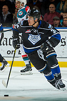KELOWNA, CANADA - DECEMBER 30: Kaid Oliver #34 of the Victoria Royals skates with the puck against the Kelowna Rockets on December 30, 2017 at Prospera Place in Kelowna, British Columbia, Canada.  (Photo by Marissa Baecker/Shoot the Breeze)  *** Local Caption ***