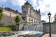 The Rideau Canal and Château Laurier in downtown Ottawa, Ontario, Canada.  Construction on the Château Laurier was finished in 1912 and overlooks the Rideau Canal and the Ottawa River.