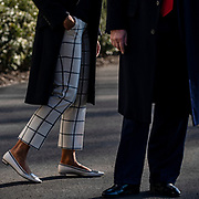 WASHINGTON, D.C. - FEBRUARY 23: First Lady Melania Trump join's her husband, President Trump, after he spoke to the media before departing the White House en route to India in Washington, D.C. on February 23, 2020.