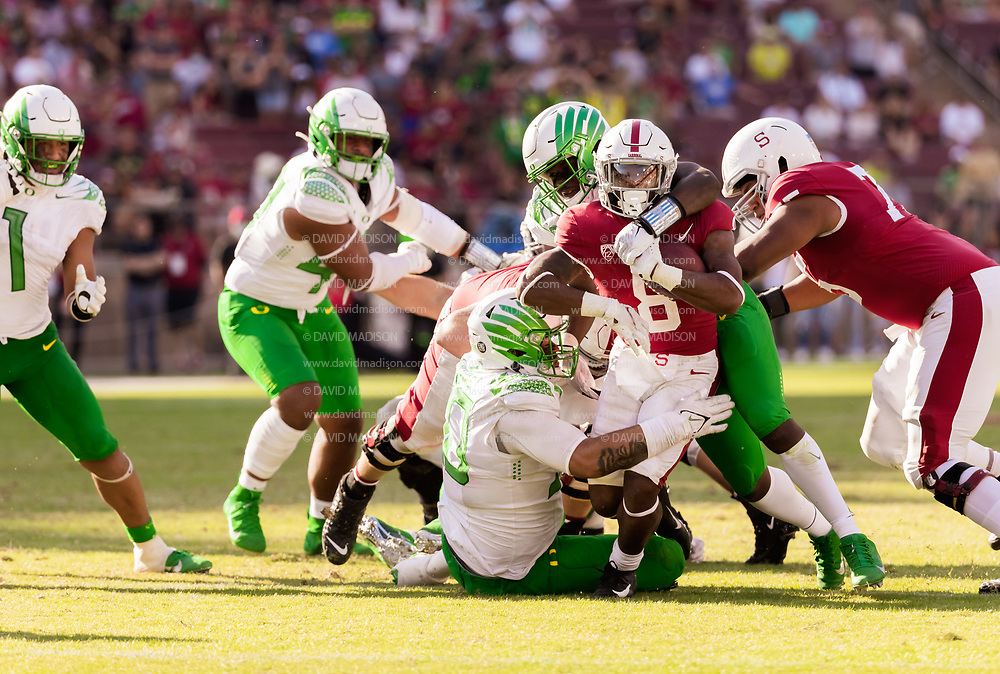 PALO ALTO, CA - OCTOBER 2:  Nathaniel Peat #8 runs the ball during overtime of an NCAA Pac-12 college football game against the Oregon Ducks on October 2, 2021 at Stanford Stadium in Palo Alto, California.  (Photo by David Madison/Getty Images)