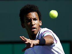 March 7, 2019 - Los Angeles, California, U.S - Cameron Norrie of Germany, returns the ball to Felix Auger-Aliassime of Canada,  during the men singles first round match of the BNP Paribas Open tennis tournament on Thursday, March 7, 2019 in Indian Wells, California. Auger-Aliassime won 2-0. (Credit Image: © Ringo Chiu/ZUMA Wire)